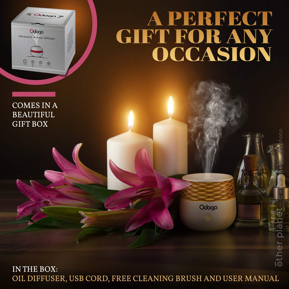 Nice group arrangement photo with oil diffuser product wth graphics