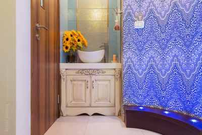Oriental style bathroom corner