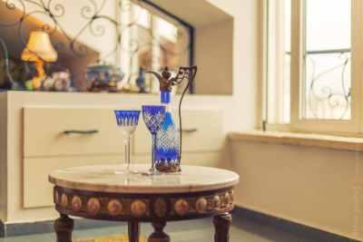 Oriental style coffee table closeup