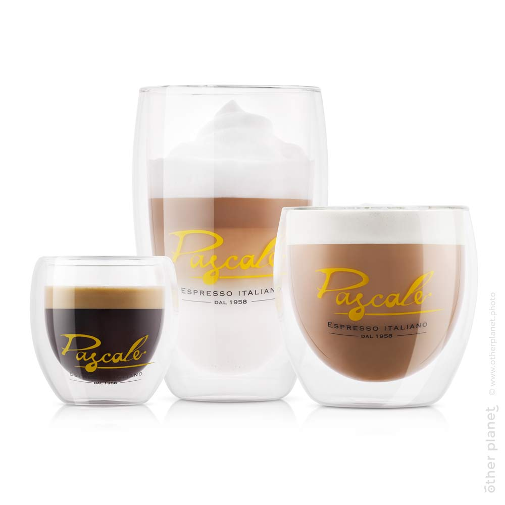Pascale transparent coffee cups filled with coffee on white background