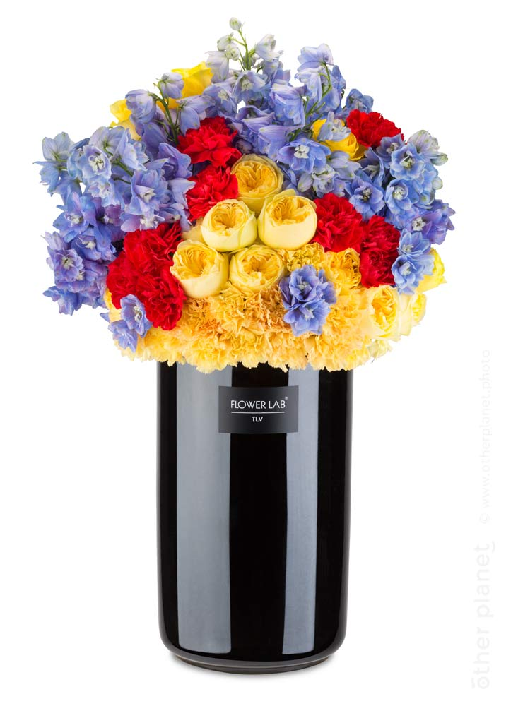 Picturesque arrangement in black vase
