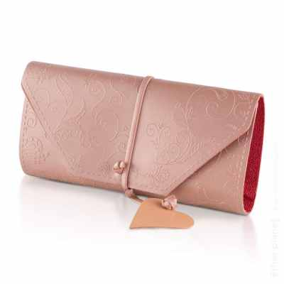 Pink clutch bag with floral ornament