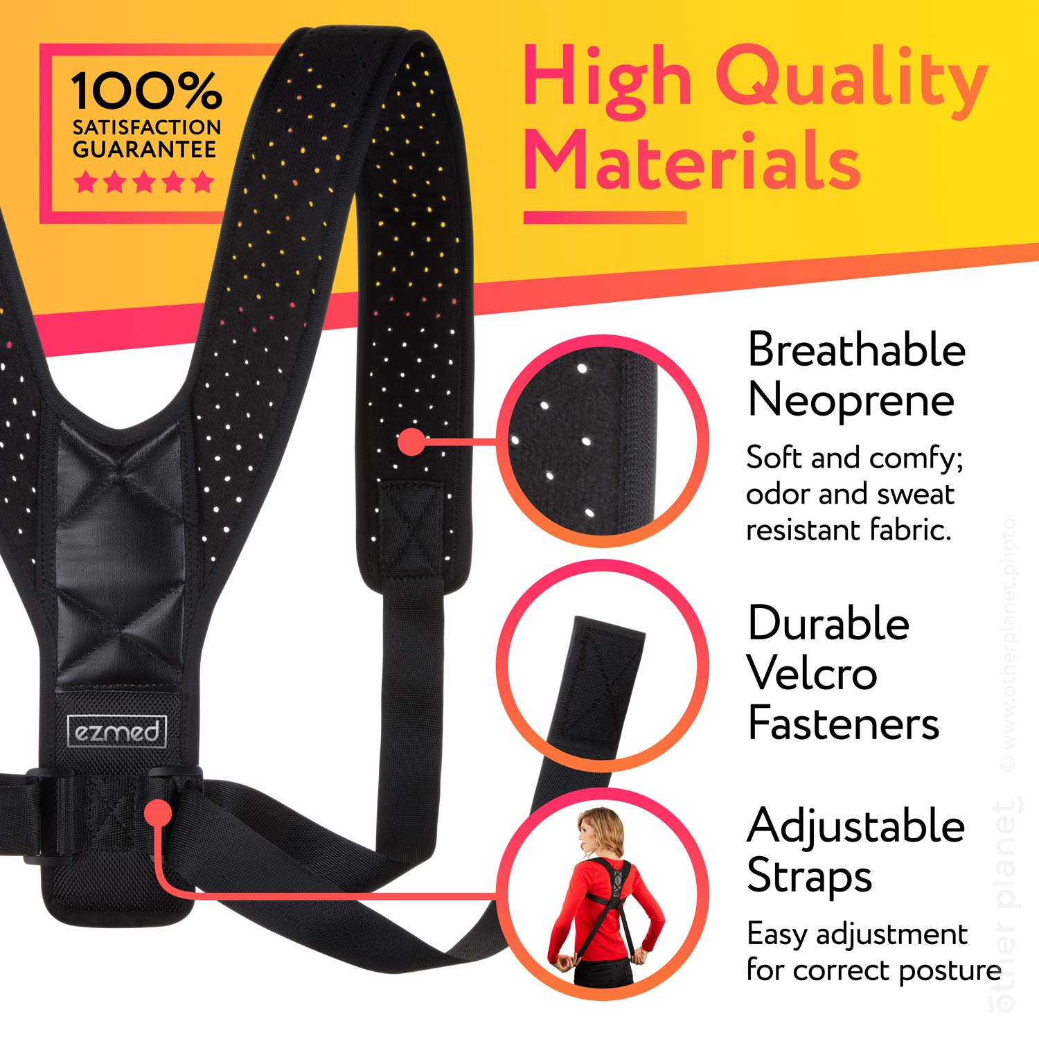 Posture corrector image with closeups and materials presentation