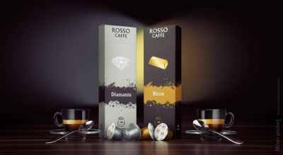 Rosso Caffe Coffe capsules advertising picture with symmetry effect