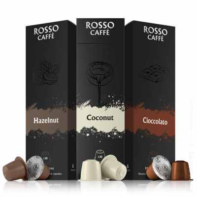 Rosso coffee capsules group packshot