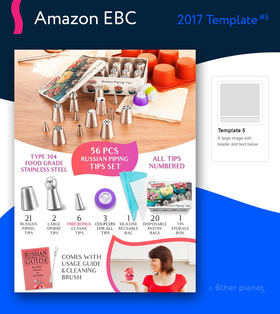 Russian piping tips enhanced brand content images for Amazon