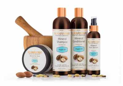 Semantika Argan Oil cosmetic products collection photo on white