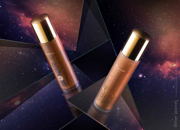 Sharons Bronzerme and Glowrious cosmetic products advertising