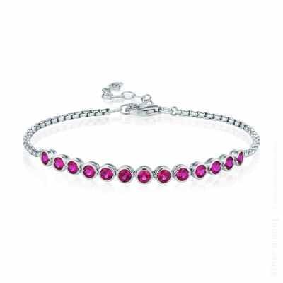 Silver bracelet with fuchsia swarovski crystals