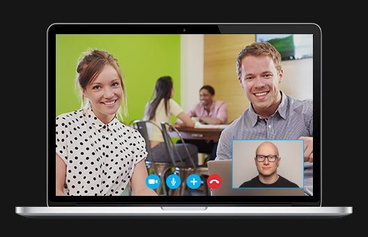 Image illustrating video meeting with a client via Skype