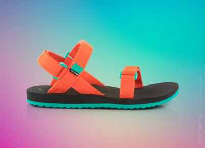 Source urban sandals packshot on colorful background