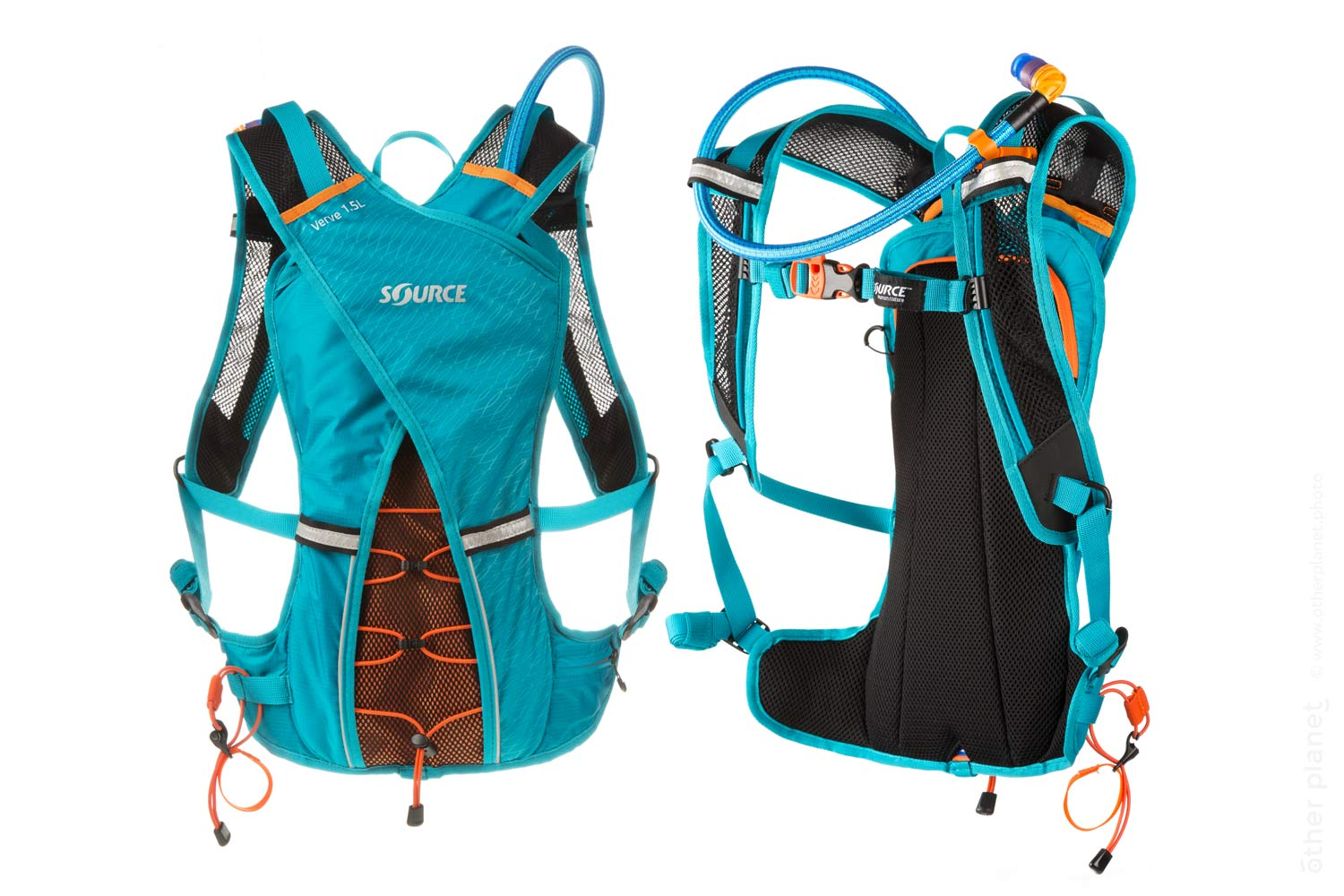 Source water backpack for traveling and cycling photo on white background