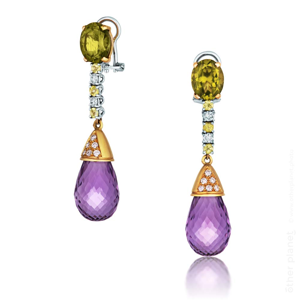 Topaz and Amatist gemstones earrings packshot