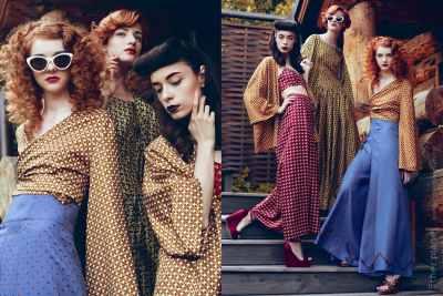 Tree fashion models wearing Insa dresses by Sandra Gutsati