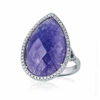 White gold ring with pear cut lilac gemstone with diamonds
