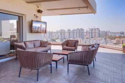 Wide terrace with the view of Tel Aviv