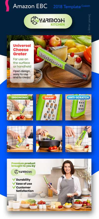 Amazon EBC image for cheese grater Enhanced Brand Content Image