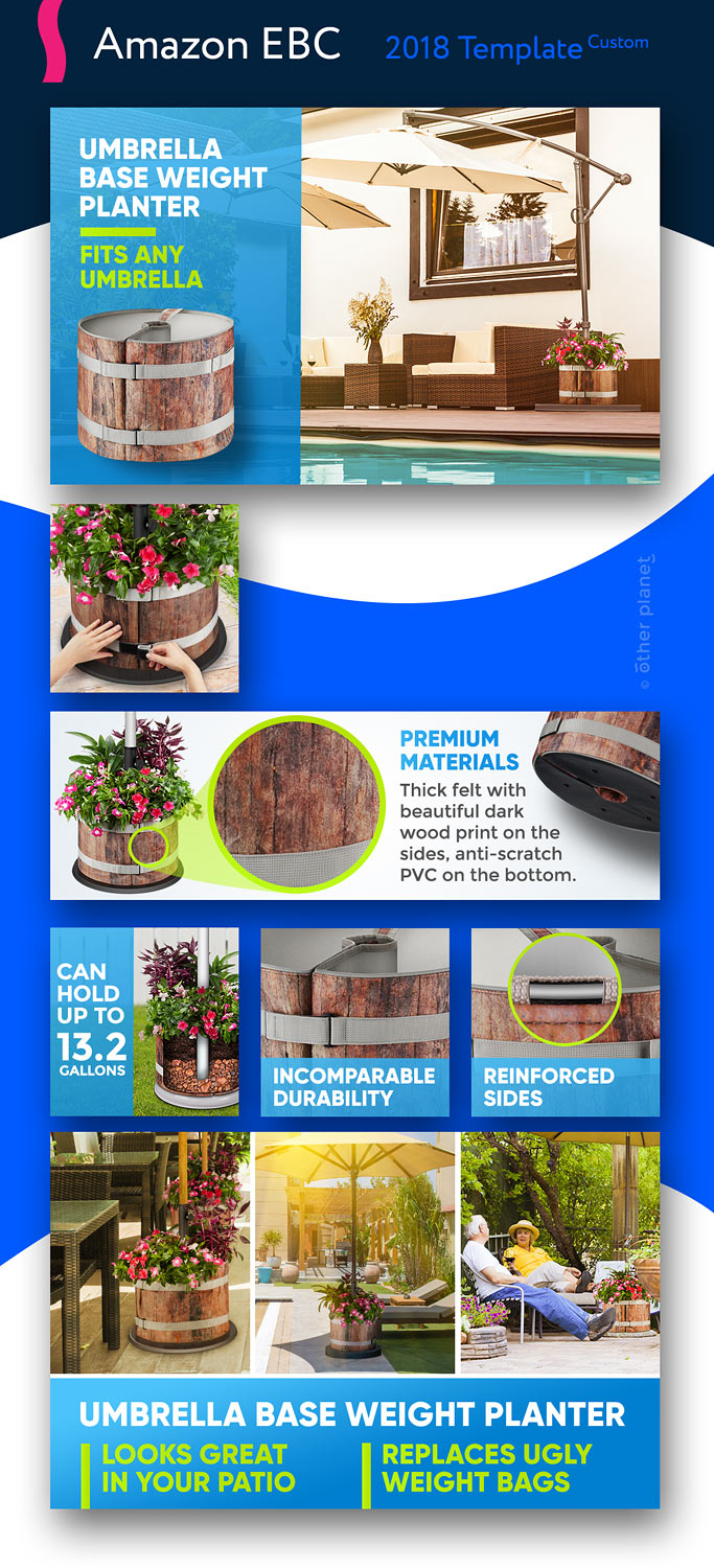 Amazon EBC image for flower planter Enhanced Brand Content Image