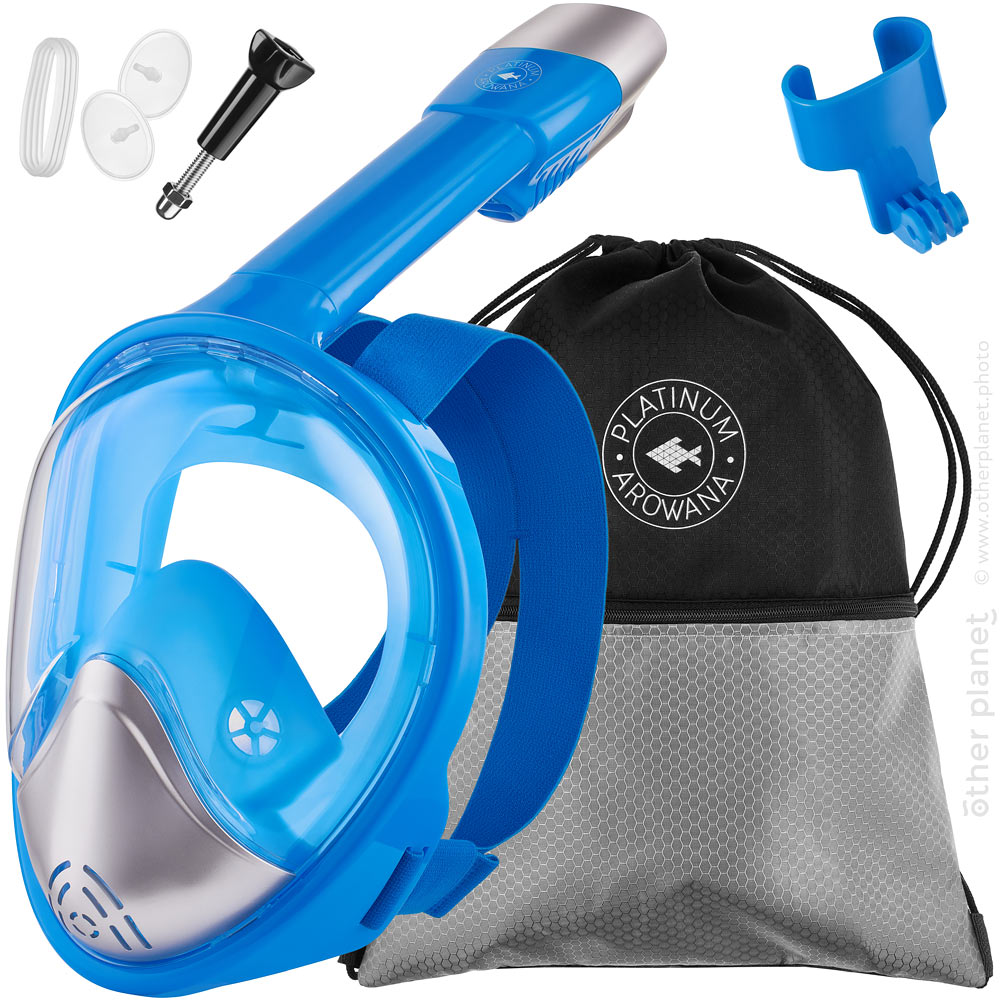 Amazon main product image of full face snorkeling mask on white background