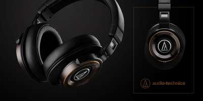 Audio-Technica headphones headset advertising photo on black background