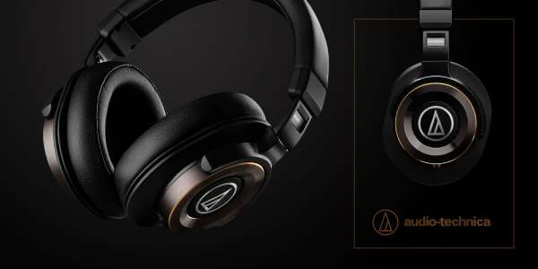 Audio-Technica headphones headset advertising photo on black background