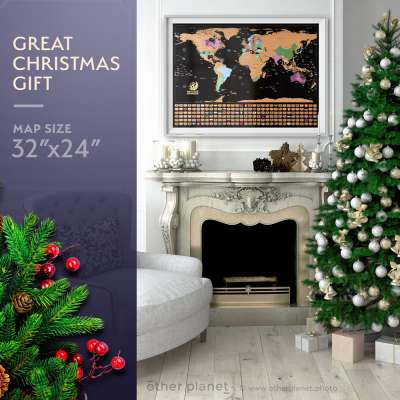 Concept image of the map product as a gift in Christmas environment