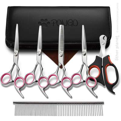 Dog grooming set on white background for Amazon product page