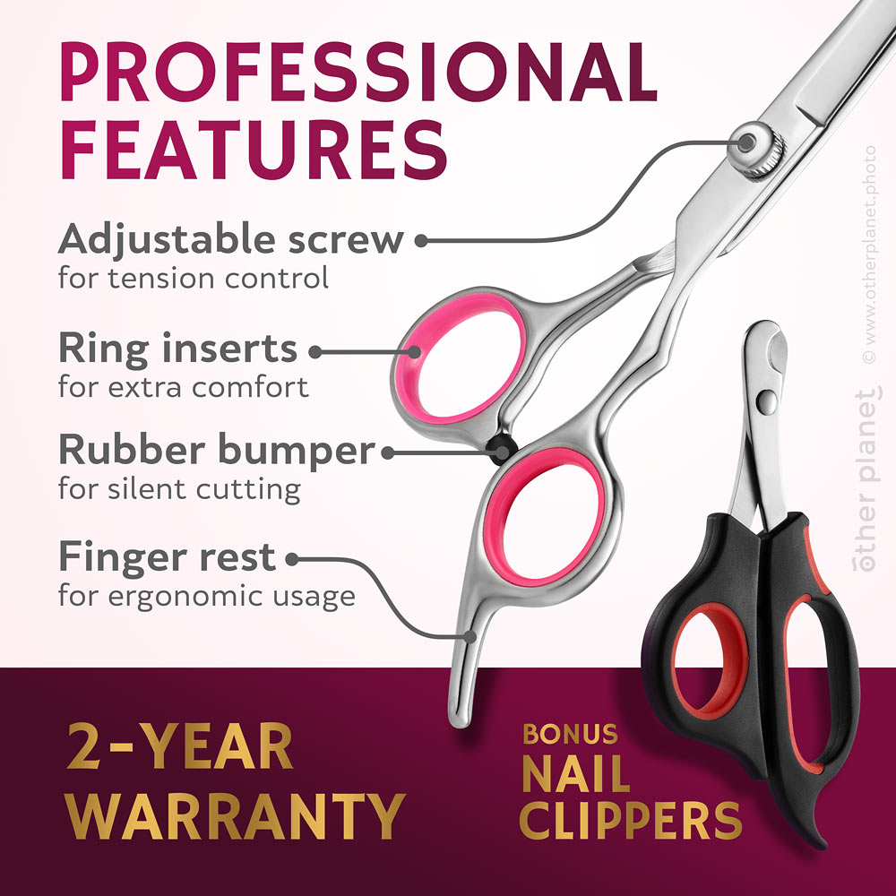 Dog grooming tools features explained in the infographics image for Amazon product page