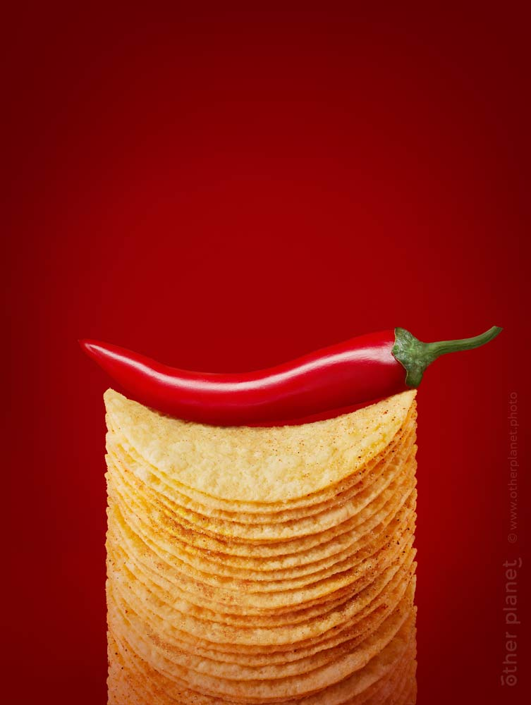 Food appeal photo for hot chili flavored potato chips