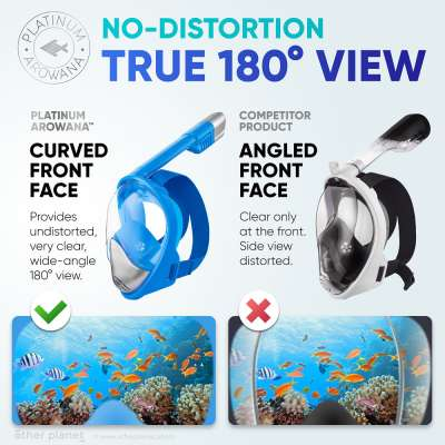 Infographics comparison image of two full face snorkeling masks