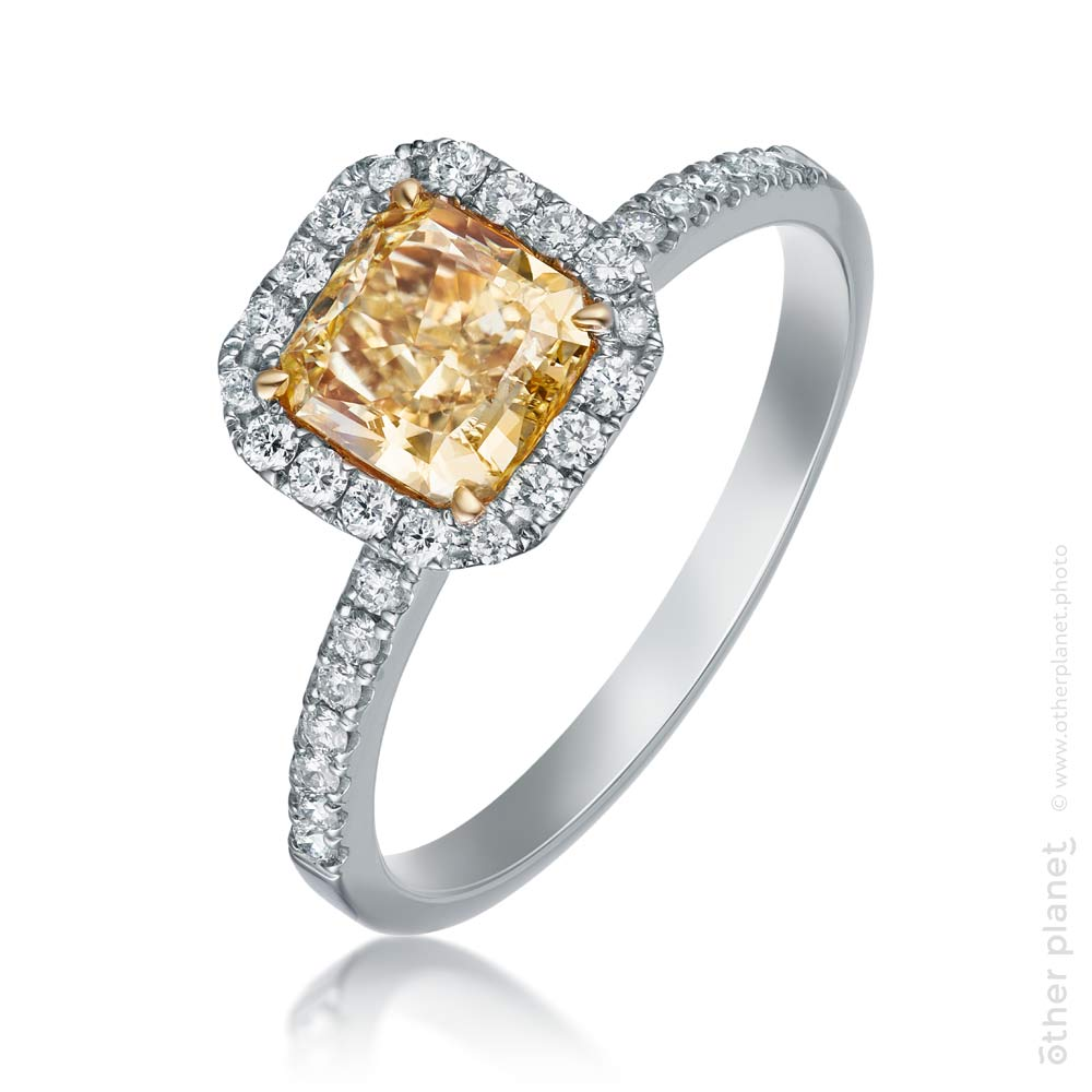Jewelry ring packshot with diamonds and yellow topaz