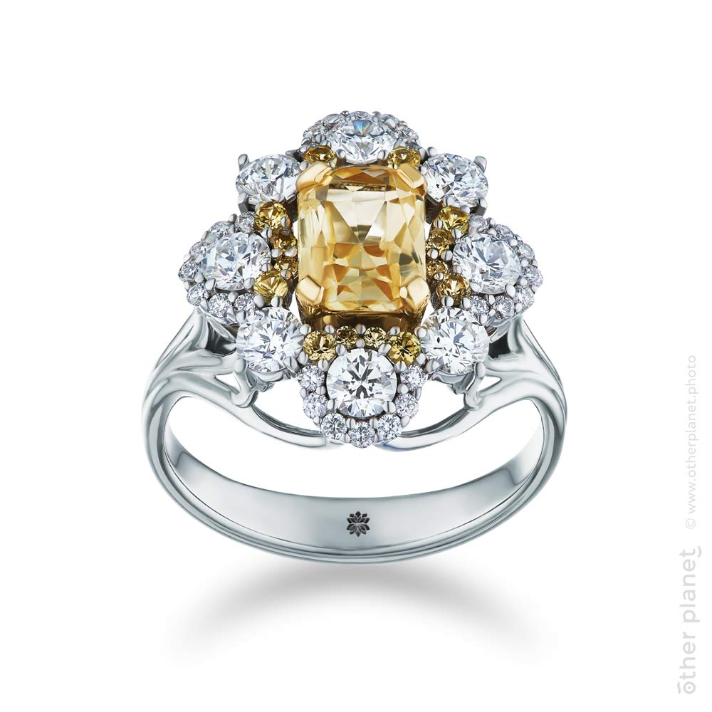 jewelry ring with diamonds and yellow topaz by Lachtara