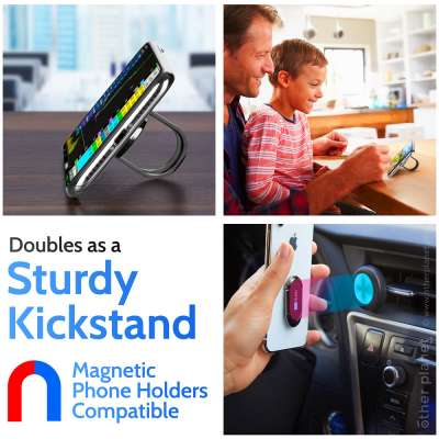 Product image of different uses for a phone holder ring kickstand