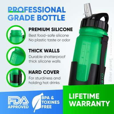 Silicone bottle features explained in the infographics image for Amazon product page