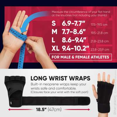 Sizes chart and description for fitness gloves