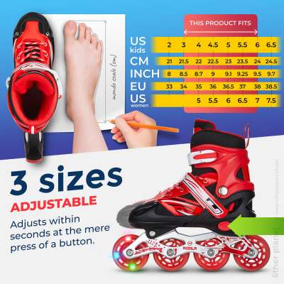 Sizing chart for Amazon product listing of inline skates