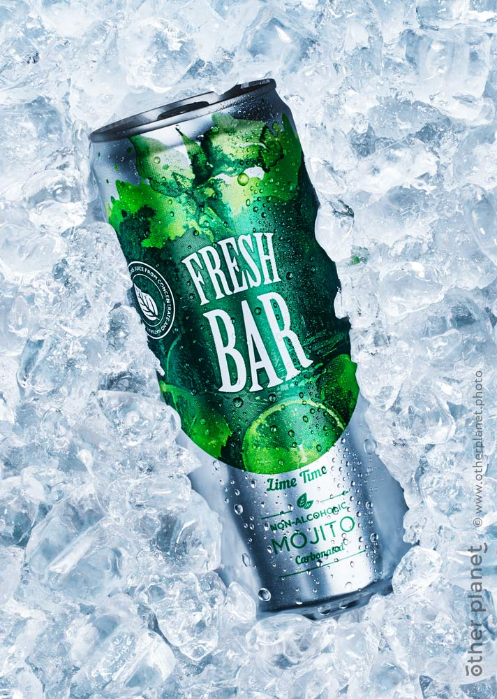Soda can in ice advertising photo for Fresh Bar drink