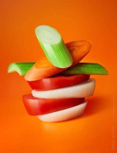 Vegetables arrangement food appeal photo for frozen vegetables mix orange background
