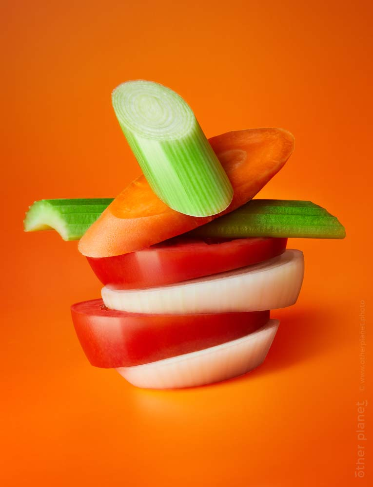 Vegetables arrangement food appeal photo for frozen vegetables mix orange background