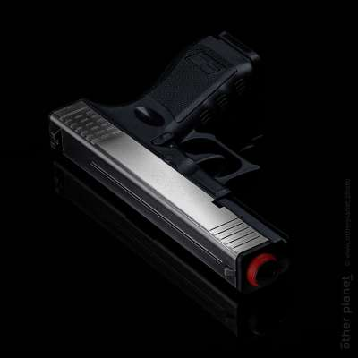 Pepper spray gun packshot ob black glossy background