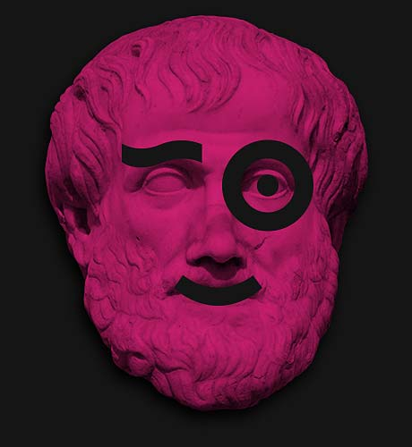 About Us illustration smiling Aristotle face sculpture