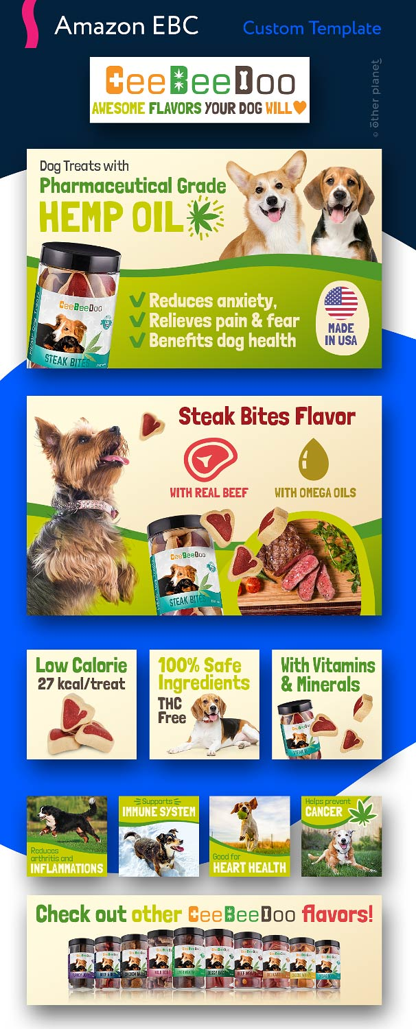 Enhanced branding images for dog treats product sold on Amazon