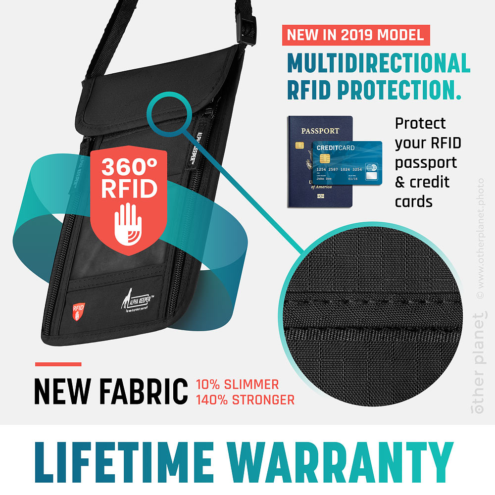 Infographics for RFID protection in the neck wallet Amazon product