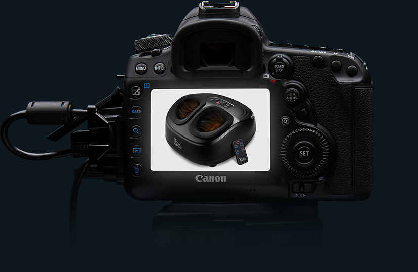 Product Photography for Amazon camera viewpoint on dark background