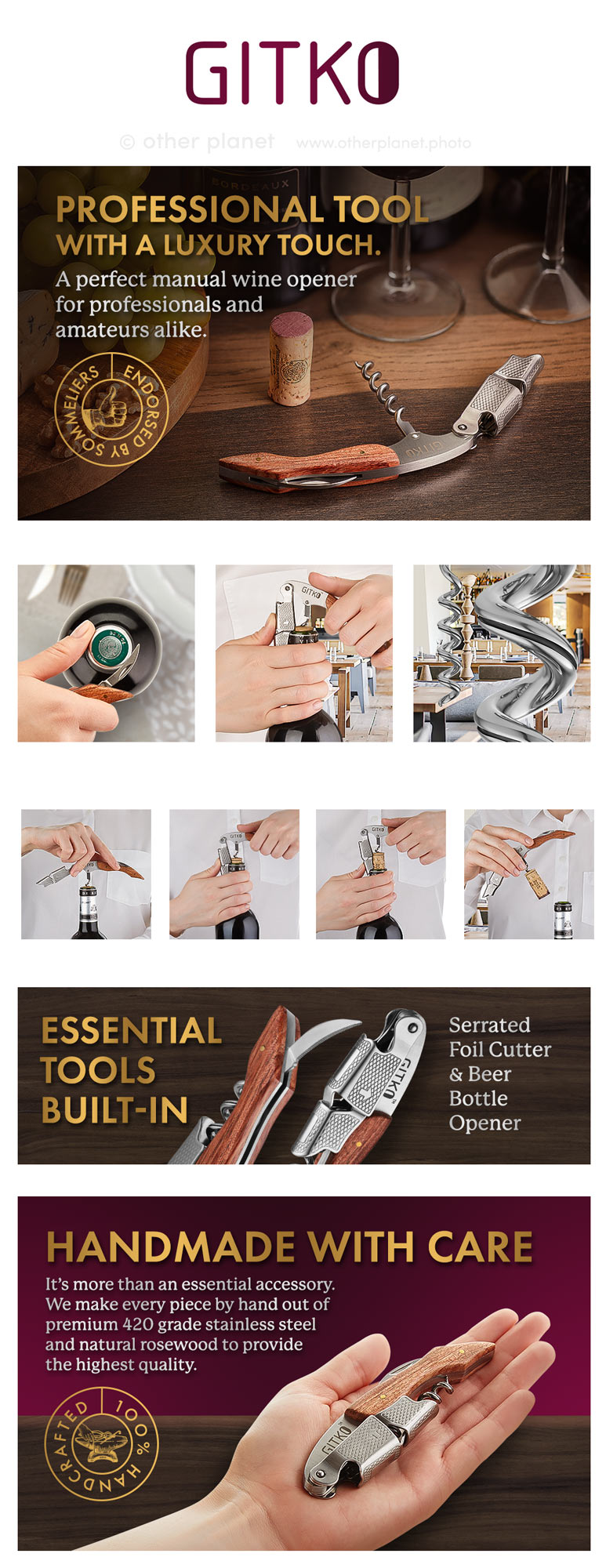 amazon fba product photography A+ content for Wine opener