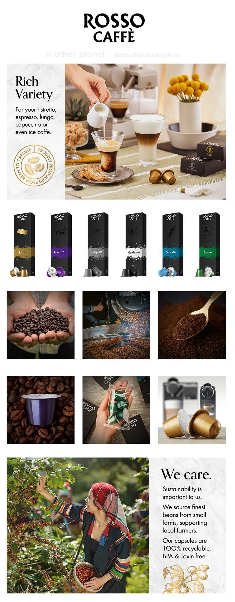 amazon product photos A+ content for espresso capsules Rosso Caffe