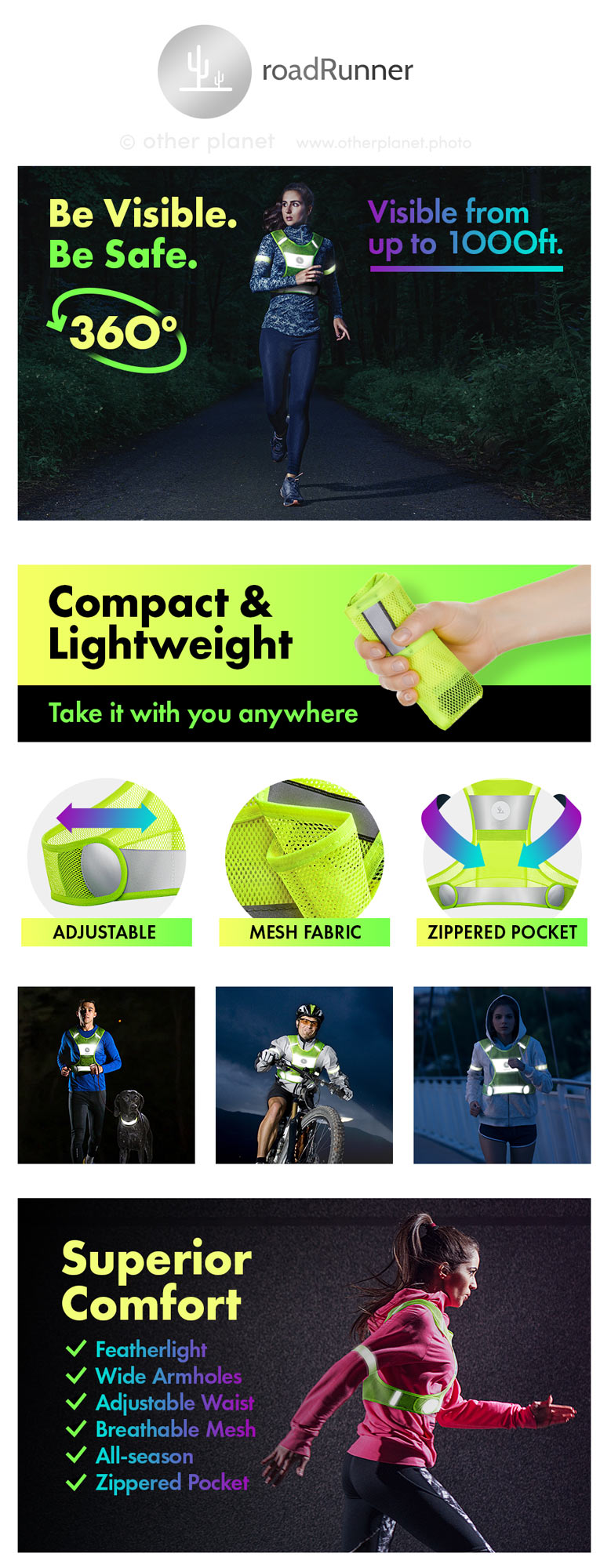 amazon product shoot for Reflective vest for running EBC listing
