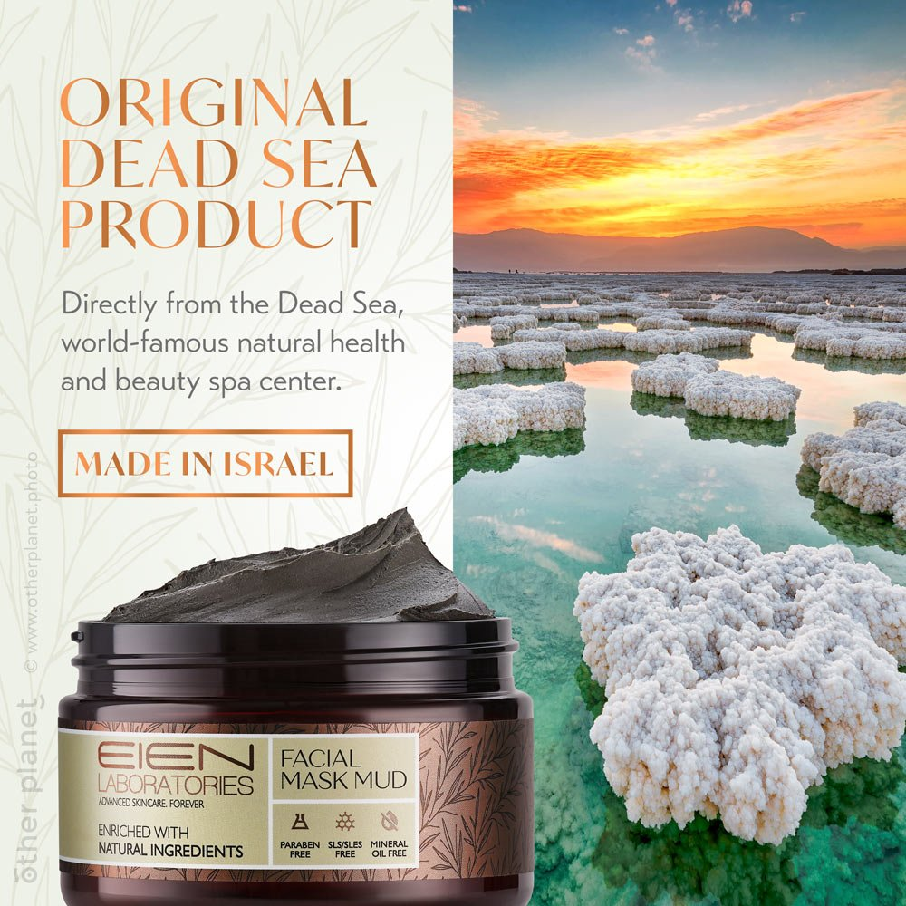 Dead sea mud product photography with graphic design background