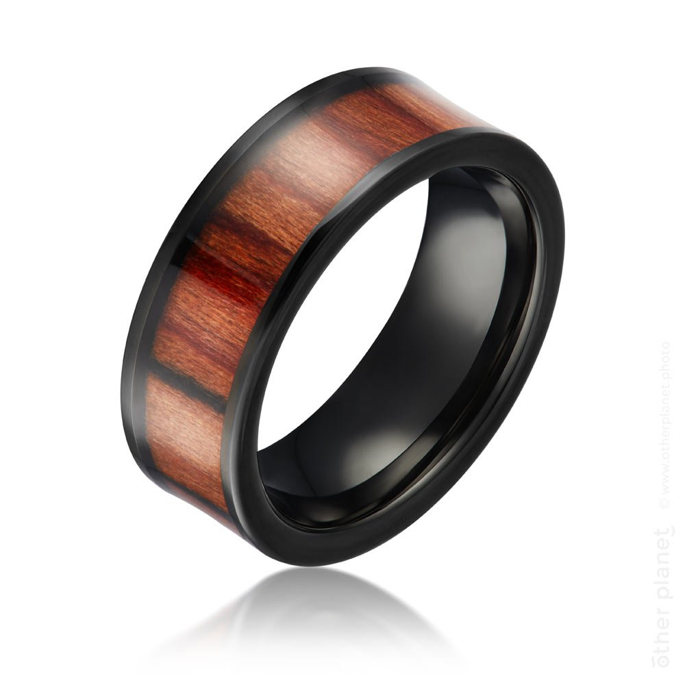 jewelry photography metal and wood mens ring