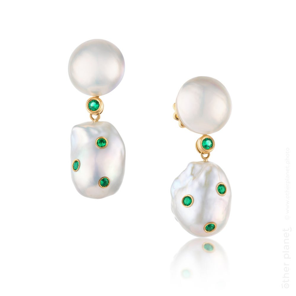 jewlery product photography white background earrings with pearls and emeralds